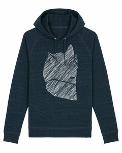 Unisex Kapuzensweater Fuchs 2.0 aus Biobaumwolle mit Seitentaschen dunkelblau meliert  - ilovemixtapes