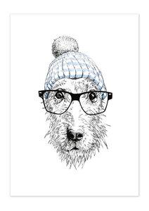 Poster Animal Dog Glasses matt - GreenBomb