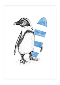 Poster Animal Penguin Surfer matt - GreenBomb