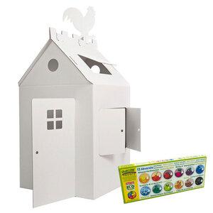 Spielhaus aus Pappe zum Basteln inkl. Öko Wasserfarben - 4betterdays