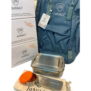 4-er Set: je 4 JuNiki´s® eco line Edelstahl Lunchbox Brotdose + Trenner + Dipper + 1 JuNiki´s® Rucksack als Gratiszugabe - JN JuNiki's