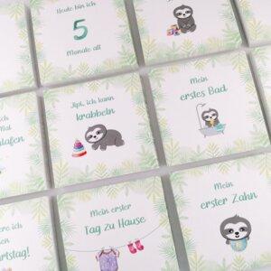 """25 Baby Meilensteinkarten """"Faultier"""" für das erste Jahr mit Baby - Chill n Feel"""