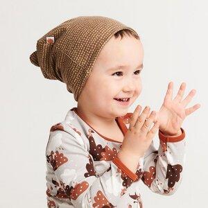 """Gefütterte Baby-Haube mit Bärenohren aus Bio-Baumwolle """"Dotted Lines""""  - Cheeky Apple"""