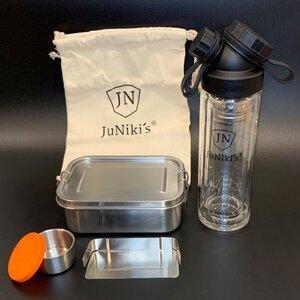 Geschenk-Set: JuNiki´s® Lunchbox + doppelwandige Glasflasche mit Trinköffnung und Edelstahl-Teefilter - ideal für die Teepause - JN JuNiki's