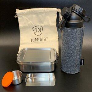 Geschenk-Set: JuNiki´s® Lunchbox + doppelwandige Glasflasche mit Trinköffnung und Edelstahl-Teefilter und Filzhülle - ideal für die Teepause - JN JuNiki's