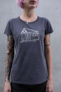 Frauen T-Shirt Tiny House aus Biobaumwolle Made in Portugal dunkelgrau ILP05 - ilovemixtapes