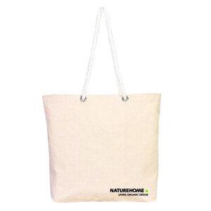 NATUREHOME Tasche 100% Baumwolle Bio (kbA) XXL Einkaufstasche Stofftasche mit Logo - NATUREHOME