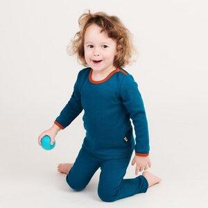 "Langarm Baby-Shirt aus Bio-Baumwolle ""Jacquard Petrol"" - Cheeky Apple"