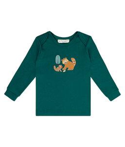 Baby LA Shirt blaugrün mit Applikation Bio Baumwolle - sense-organics