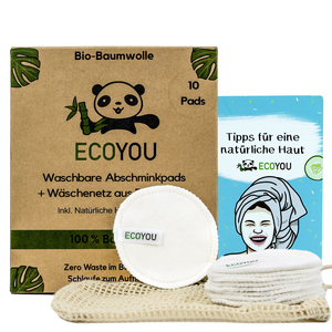 10 Abschminkpads waschbar BIO-Baumwolle inkl. Wäschenetz + Hautpflege Guide - EcoYou