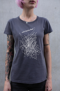Frauen T-Shirt not disturbed aus Biobaumwolle Made in Portugal dunkelgrau ILP05 - ilovemixtapes