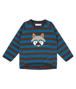 Baby Sweatshirt braun blau geringelt Bio Baumwolle - sense-organics