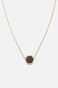 Halskette mit Holzelement 'HEXA NECKLACE' - Kerbholz