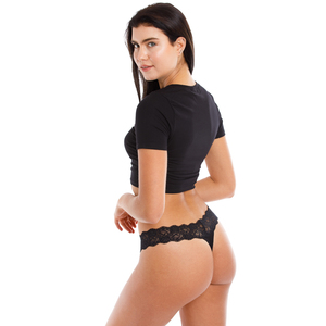 Damen Bio String Spitze Bund schwarz - Babettes Organic