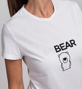 Damen T-Shirt STAY WILD BeBEAR aus Bio-Baumwolle | Weiß - CasaGIN