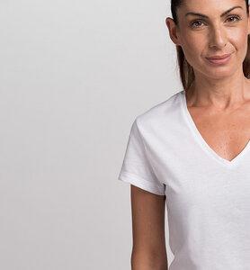 Damen-T-Shirt mit V-Ausschnitt aus Bio-Baumwolle | Weiß - CasaGIN
