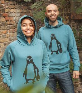 Pinguin Paul - Fair gehandelter Bio Unisex Hoodie / Kapuzenpulli - Blau - päfjes