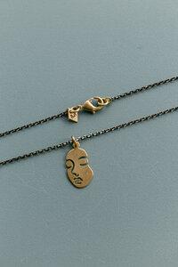 """Halskette """"FACE """" Messing in gold und schwarz - ALMA -Faire Streetwear & Schmuck-"""