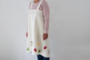 "Japanische Schürze ""Obst und Gemüse"" handbedruckt - luscinia"