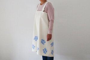 "Japanische Schürze ""Blaue Blumen"" handbedruckt - luscinia"