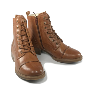 gefütterte Schnürstiefel, Pandora Boots, vegetabil gegerbtes Leder - Ten Points