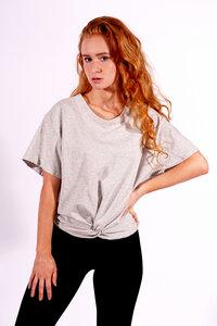 "Graues Damen T-Shirt aus Bio-Baumwolle ""Twisted Shirt""  - Flying Love Birds"