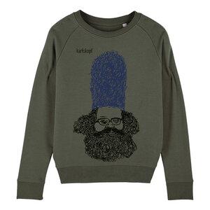 Sweatshirt - Bedruckter Damen Sweater aus Bio-Baumwolle BEWACHER - karlskopf