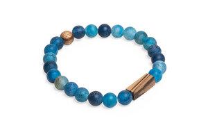 "Perlenarmband mit Holzdetails ""Aqua Zebrano Bracelet"" - BeWooden"