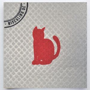 1 Schwammtuch, kompostierbar, bedruckt, Symbol: Katze - Wischling