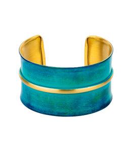 Armreif Vitana gold-farben / blaugrün - Frida Feeling