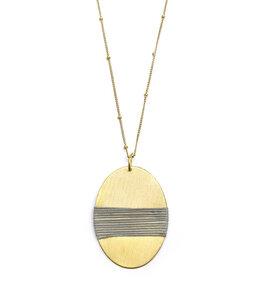 Halskette Kaia, Anhänger oval, gold-farben / grau - Frida Feeling
