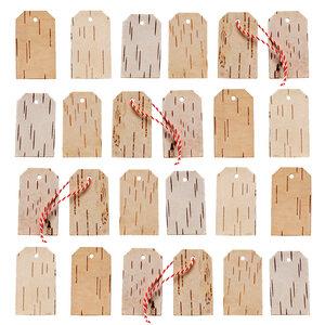 24 Adventskalender Geschenkanhänger aus Birkenrinde - Advents Set aus echter Birke - MOYA Birch Bark