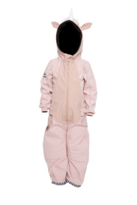 Kinder Softshellanzug aus recyceltem Polyester UNIDO Einhorn rosa - WeeDo