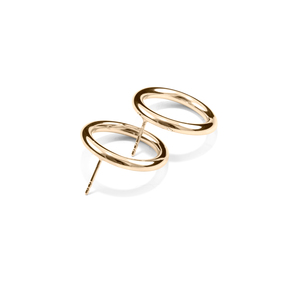 Stecker BOLD, Gold 585, 14 Karat, Durchmesser 23 mm, Handmade in Germany - Jonathan Radetz Jewellery