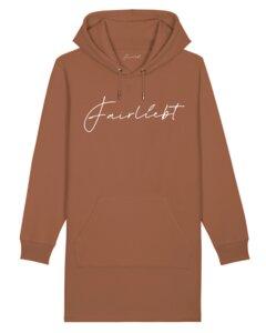 Hoodiekleid aus reiner Bio-Baumwolle, caramel, Fairliebt Logo - Fairliebt