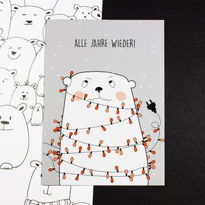 """Postkarte """"Alle Jahre wieder"""" - Bow & Hummingbird"""