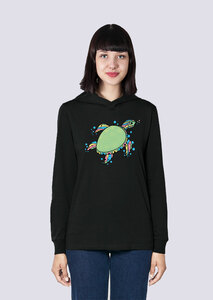 Süße Schildkröte, Leichter Damen Hoodie aus Bio Baumwolle, Kapuzensweat, Sweatshirt - vis wear