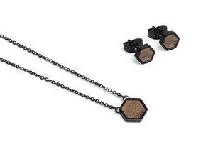 Ohringe + Kette mit Anhänger Set - Apis Nox Hexagon Set - BeWooden