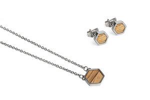 Ohringe + Kette mit Anhänger Set - Lini Hexagon Set - BeWooden