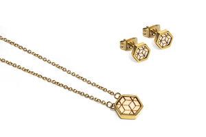 Ohringe + Kette mit Anhänger Set - Virie Hexagon Set - BeWooden