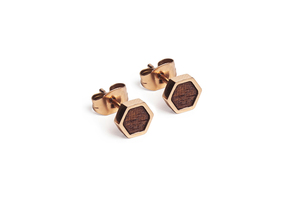 Ohringe mit Holzdetails | Rea Earrings Hexagon  - BeWooden