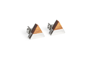 Ohringe mit Holzdetails Red Earrings Triangle - BeWooden