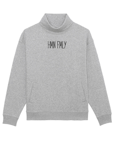 "Bio Unisex oversize Sweatshirt mit Stehkragen ""Gear - HMN FMLY""  - Human Family"