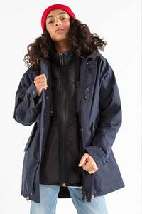 Damenjacke aus Bio-Baumwolle in dunklem Blau und Oliv - JECKYBENG