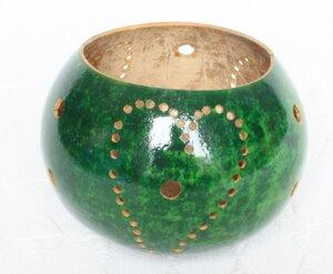 Kalebasse Teelicht aus einem Flaschenkürbis -grün-  - Mama Akua