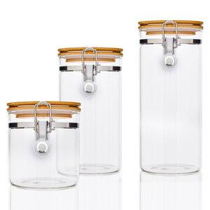 3er Set Glas mit Bambusdeckel & Metallverschluss 550ml, 900ml, 1250ml - Bambuswald