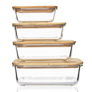 4er Set Glasbox / Frischhalteschale aus Glas mit Bambusdeckel 370ml, 640ml, 1040ml, 1520ml - Bambuswald