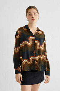 Bluse aus Bio Baumwolle mit Muster - Kati - Psychedelic  - thinking mu