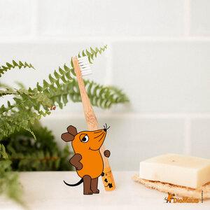 Kinder Maus Zahnbürste aus Bambus | extra weich | orange - HYDROPHIL