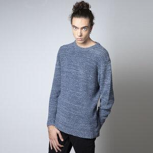 Recycelter Denim Pullover - Adriano, blau meliert - Rifò - Circular Fashion